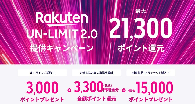 楽天モバイル(MNO) Rakuten UN-LIMIT2.0 キャンペーン
