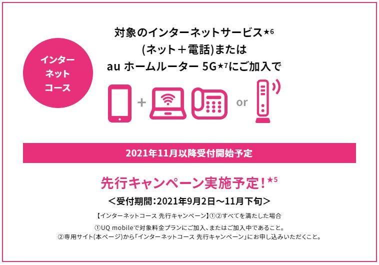 UQモバイル「自宅セット割インターネットコース」