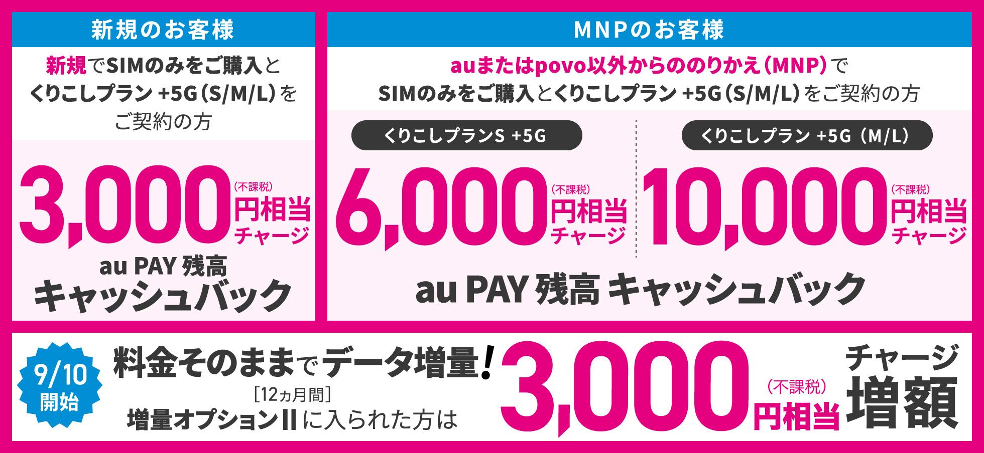 UQモバイル「au Pay残高最大13,000円キャッシュバック」